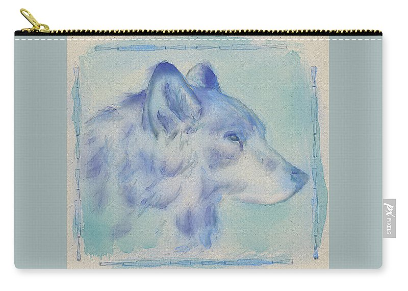 Wolf Carry-all Pouch featuring the digital art Wolf by Crystal Hubbard
