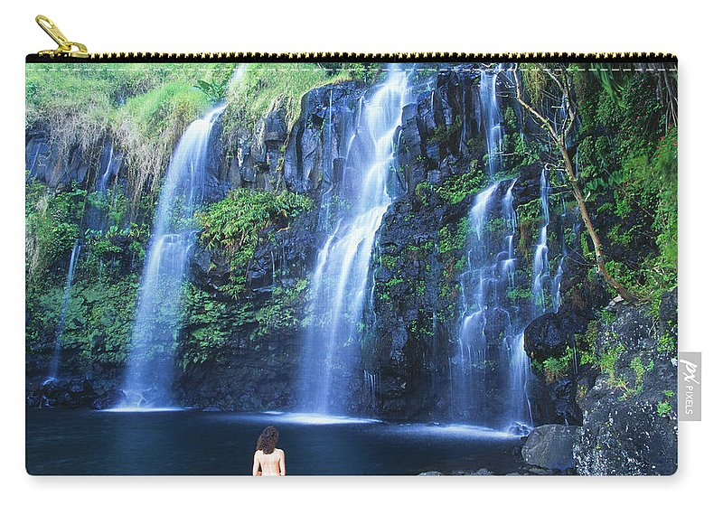 Base Carry-all Pouch featuring the photograph Woman At Waterfall by Dave Fleetham - Printscapes