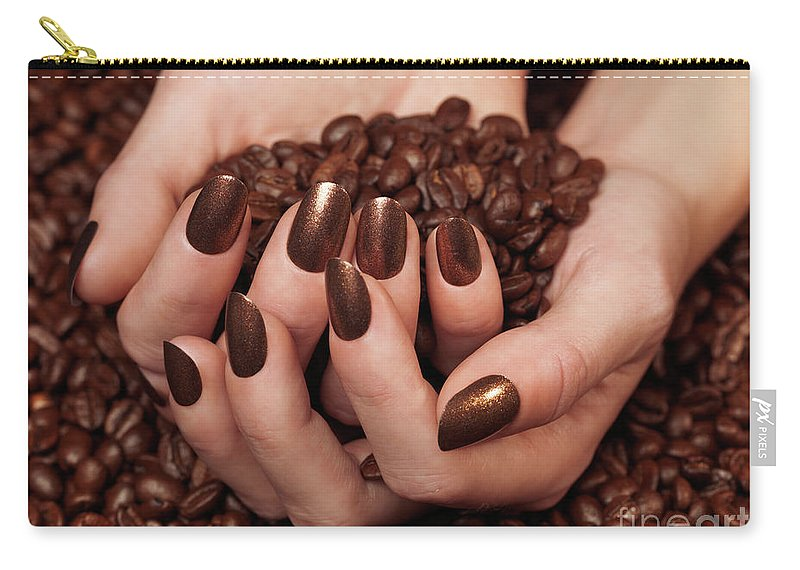 Coffee Carry-all Pouch featuring the photograph Woman Holding Coffee Beans In Her Hands by Oleksiy Maksymenko