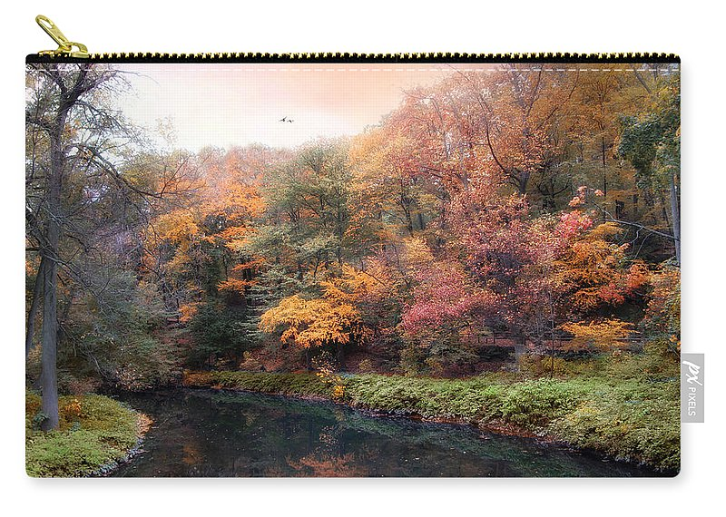 Autumn Carry-all Pouch featuring the photograph Woodland River by Jessica Jenney