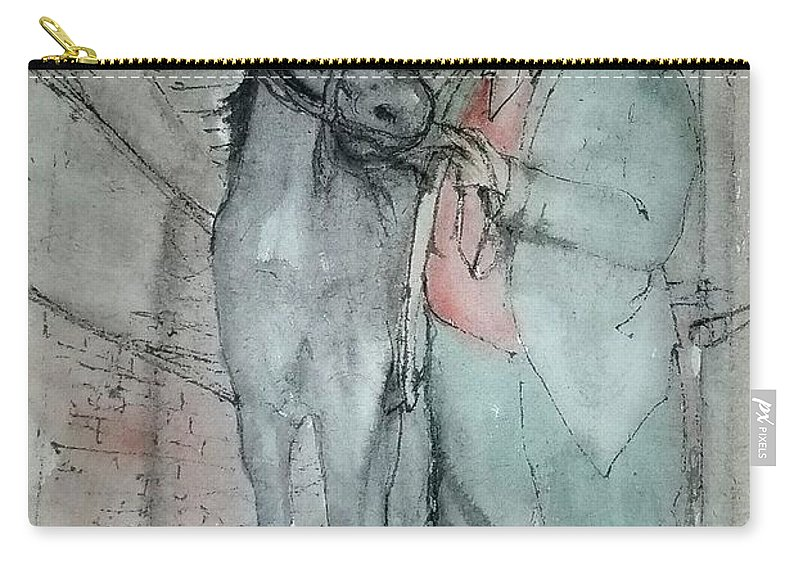 Horse. Mining. Work. Carry-all Pouch featuring the painting Work Not Dance Album by Debbi Saccomanno Chan
