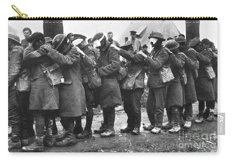 1918 Carry-all Pouch featuring the photograph World War I: Gas Warfare by Granger
