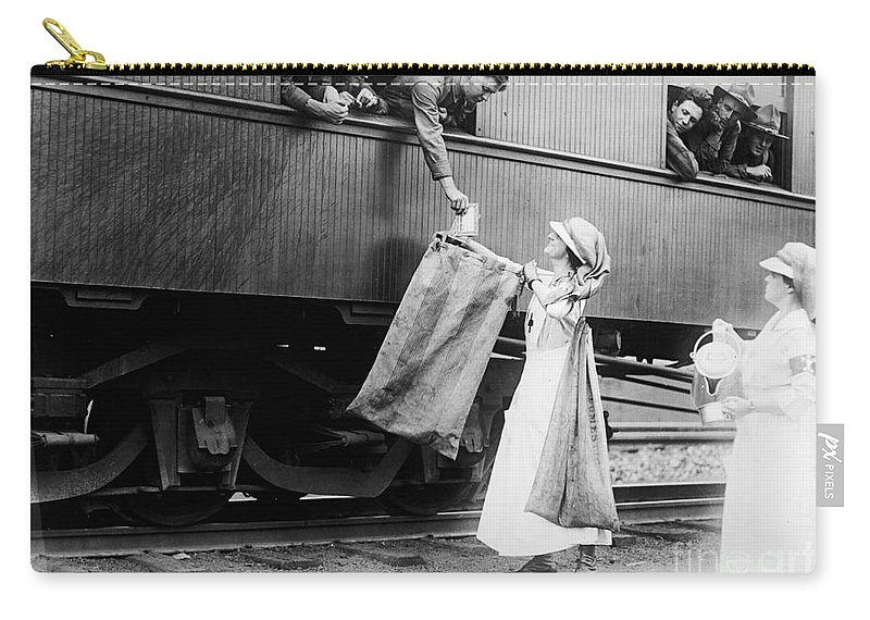 1918 Carry-all Pouch featuring the photograph World War I: Red Cross by Granger