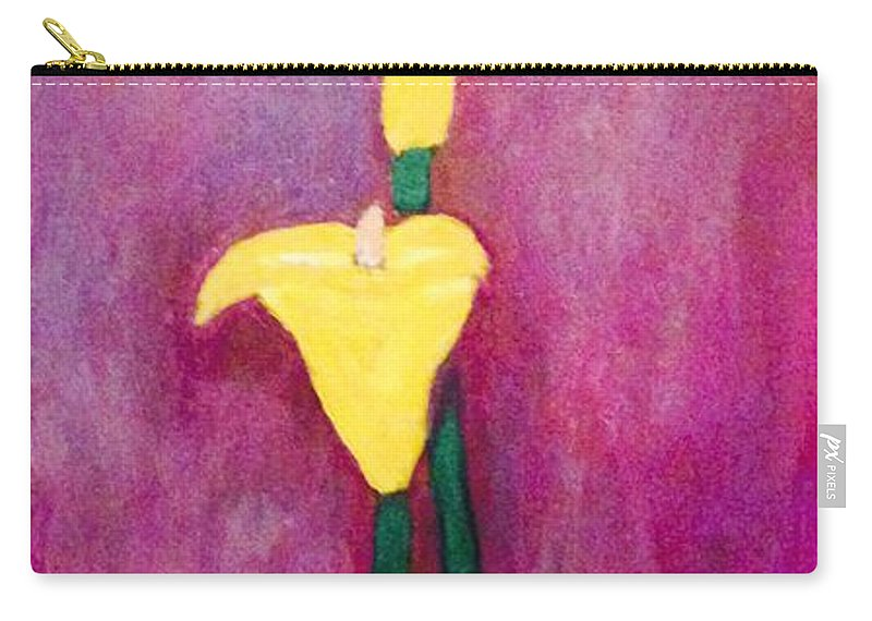 Yellow Lilies Carry-all Pouch featuring the painting Yellow Lily by Majaia Summers