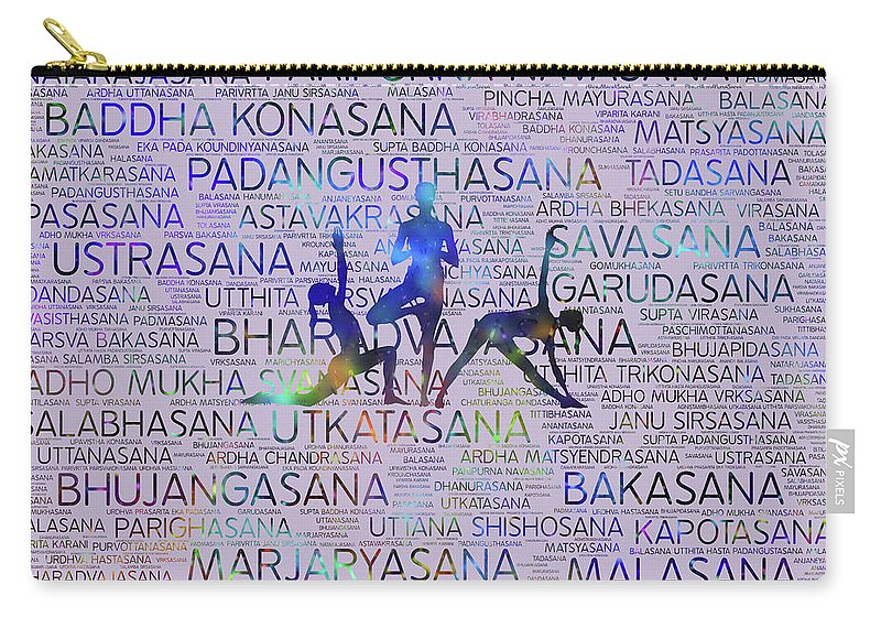 Yoga Pattern Carry-all Pouch featuring the digital art Yoga Asanas / Poses Sanskrit Word Art by Creativemotions