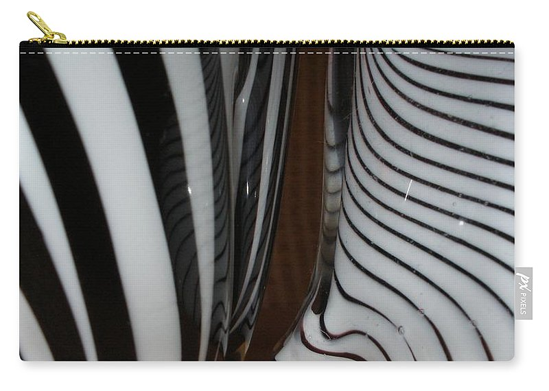 Blac Carry-all Pouch featuring the photograph Zebra Glass by Maria Bonnier-Perez