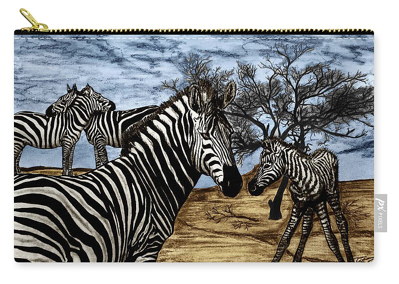 Zebra Outback Carry-all Pouch featuring the drawing Zebra Outback by Peter Piatt