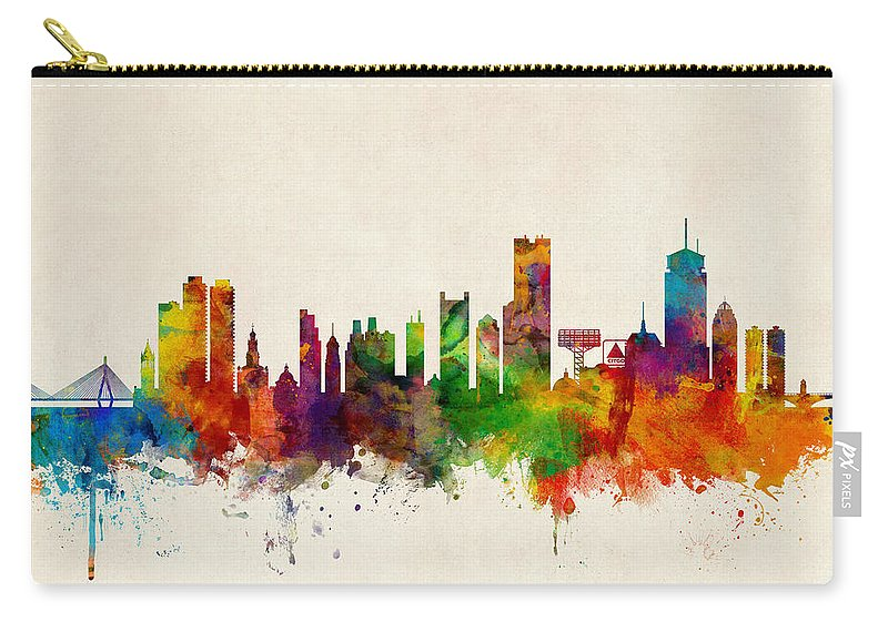 United States Carry-all Pouch featuring the digital art Boston Massachusetts Skyline by Michael Tompsett