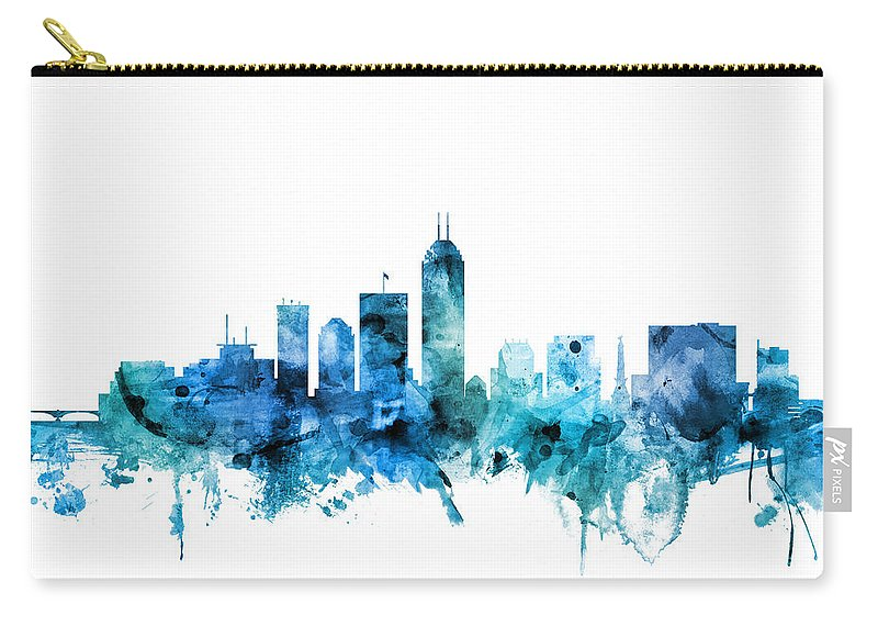 Indianapolis Carry-all Pouch featuring the digital art Indianapolis Indiana Skyline by Michael Tompsett