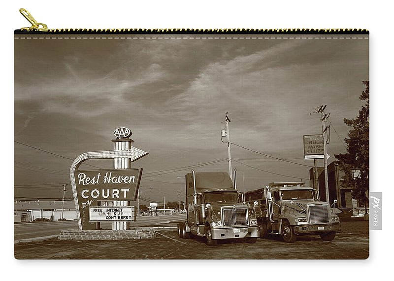 66 Carry-all Pouch featuring the photograph Route 66 - Rest Haven Motel by Frank Romeo