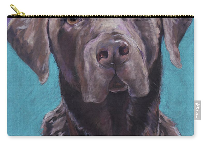 Pet Portrait Commissions Carry-all Pouch featuring the pastel 100 Lbs. Of Chocolate Love by Pat Saunders-White