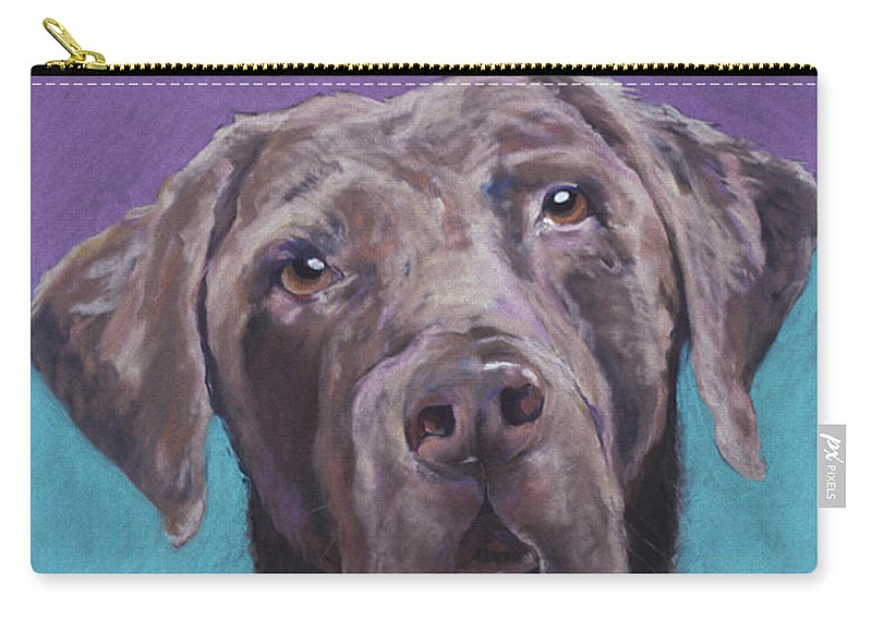 Pet Portrait Commissions Carry-all Pouch featuring the pastel Max by Pat Saunders-White