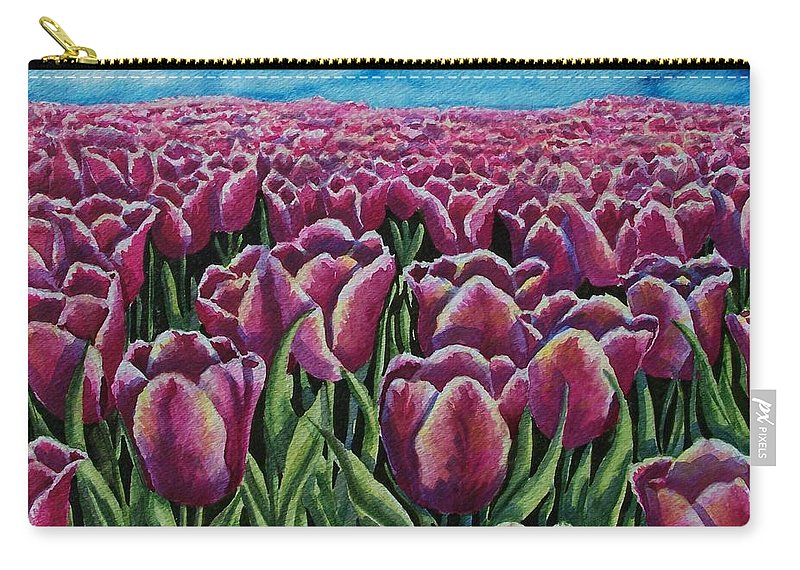 Tulips Carry-all Pouch featuring the painting 1000 Tulpis by Conni Reinecke