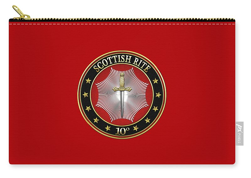 'scottish Rite' Collection By Serge Averbukh Carry-all Pouch featuring the digital art 10th Degree - Elu Of The Fifteen Jewel On Red Leather by Serge Averbukh