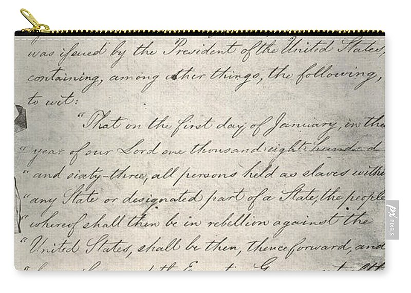1863 Carry-all Pouch featuring the photograph Emancipation Proclamation by Granger