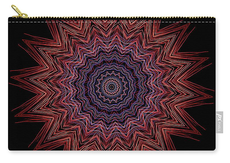 Electric Carry-all Pouch featuring the digital art Kaleidoscope Image Created From Light Trails by Amy Cicconi