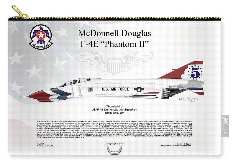 Mcdonnell Douglas Carry-all Pouch featuring the digital art Mcdonnell Douglas F-4e Phantom II Thunderbird by Arthur Eggers