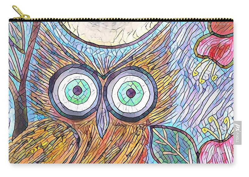 Carry-all Pouch featuring the digital art Owl Midnight by Melinda Sullivan Image and Design