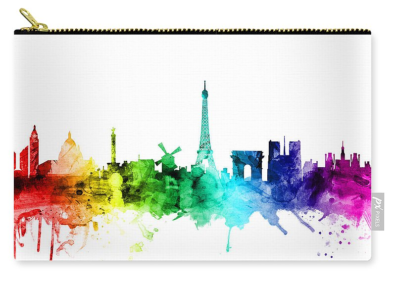 Paris Carry-all Pouch featuring the digital art Paris France Skyline by Michael Tompsett