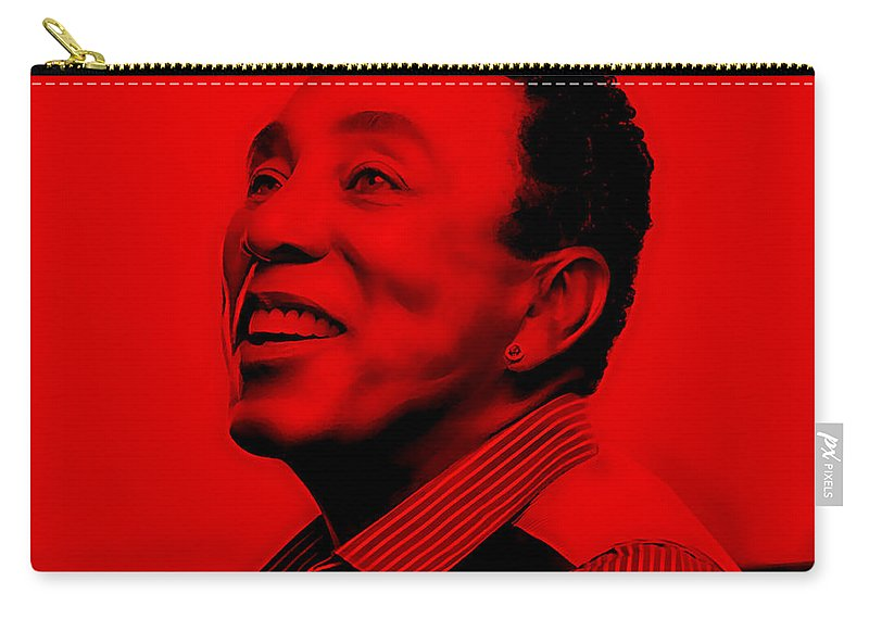 Smokey Robinson Carry-all Pouch featuring the mixed media Smokey Robinson Collection by Marvin Blaine
