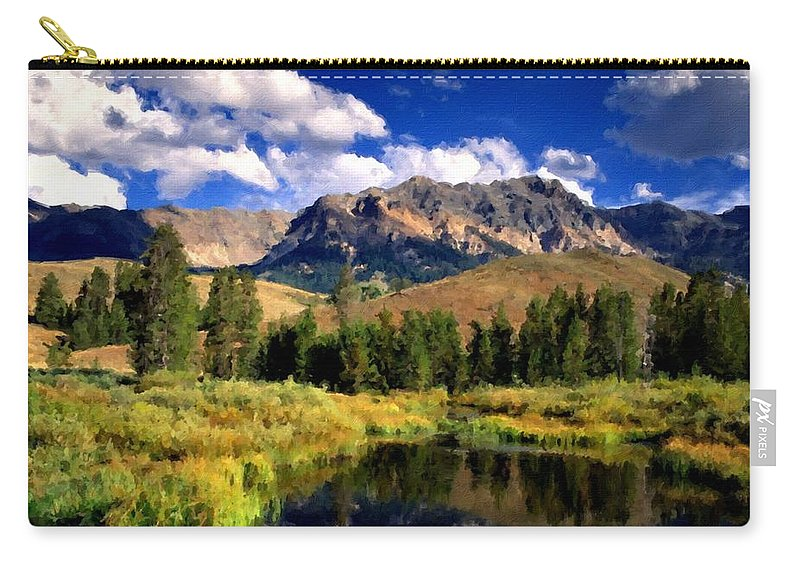 Framed Carry-all Pouch featuring the digital art T C Landscape by Usa Map