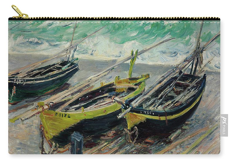 Claude Monet Carry-all Pouch featuring the painting Three Fishing Boats by Claude Monet
