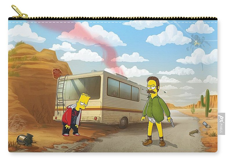 11746 The Simpsons Breaking Bad Humor Ned Flanders Bart Simpson Crossover Rv Carry All Pouch