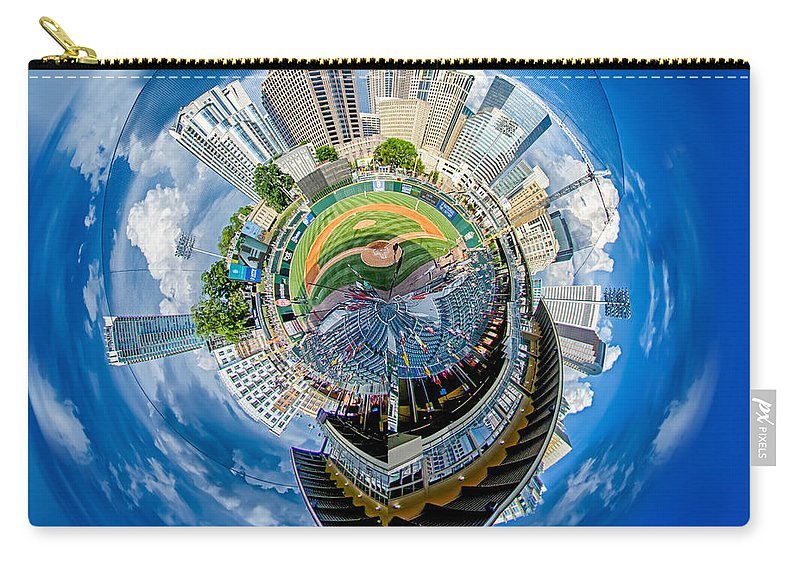 Baseball Carry-all Pouch featuring the photograph Bbt Baseball Charlotte Nc Knights Baseball Stadium And City Skyl by Alex Grichenko