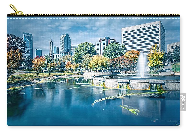 Park Carry-all Pouch featuring the photograph Charlotte North Carolina Cityscape During Autumn Season by Alex Grichenko