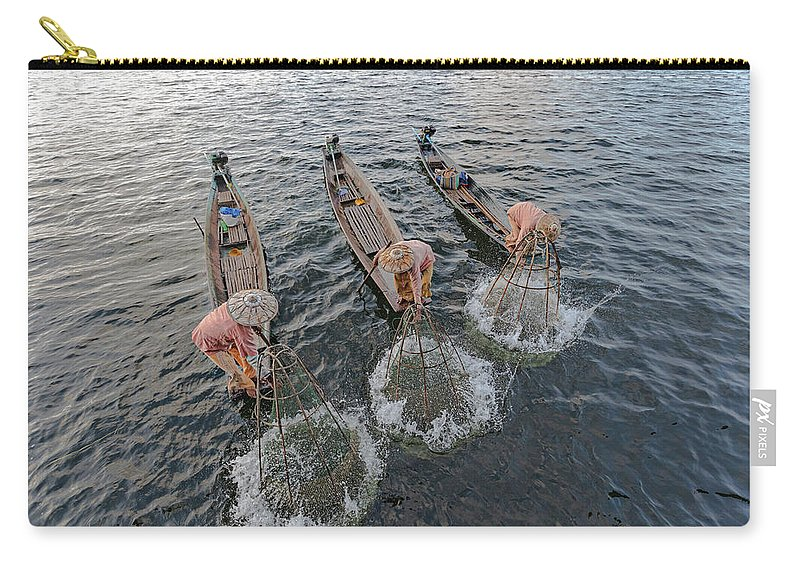 Fisherman Carry-all Pouch featuring the photograph Fisherman Inle Lake - Myanmar by Joana Kruse