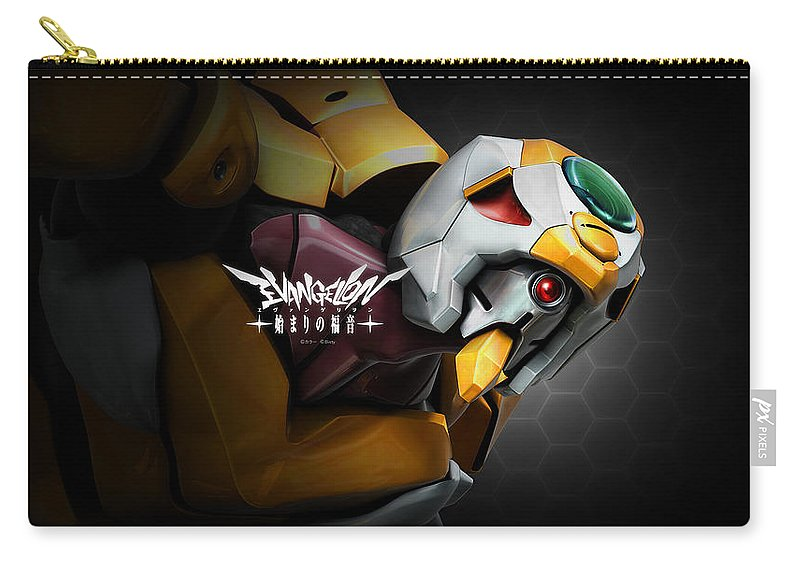 Neon Genesis Evangelion Carry-all Pouch featuring the digital art Neon Genesis Evangelion by Maye Loeser