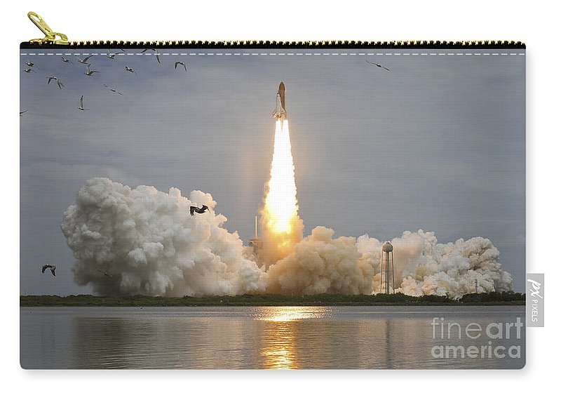 Atlantis Carry-all Pouch featuring the photograph Space Shuttle Atlantis Lifts by Stocktrek Images