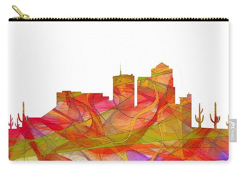 Tucson Arizona Skyline Carry-all Pouch featuring the digital art Tucson Arizona Skyline by Marlene Watson