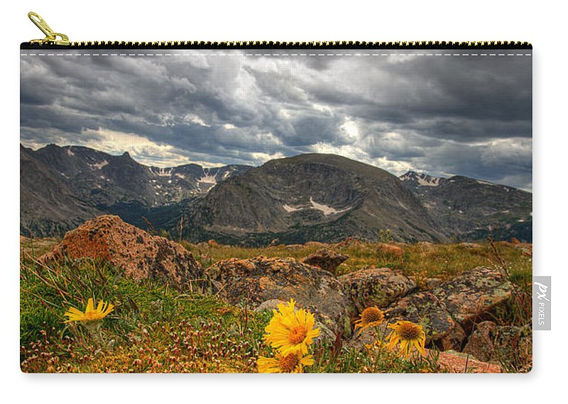 Clouds Carry-all Pouch featuring the photograph 12000 Foot Flower by Peter Tellone