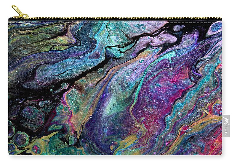 Seductive Chic Etherial Shimmering Subtly-vibrant Dramatic Colorful Original Organic Sultry Sensuous Delicious Abstract Lovley Carry-all Pouch featuring the painting #1260 by Priscilla Batzell Expressionist Art Studio Gallery