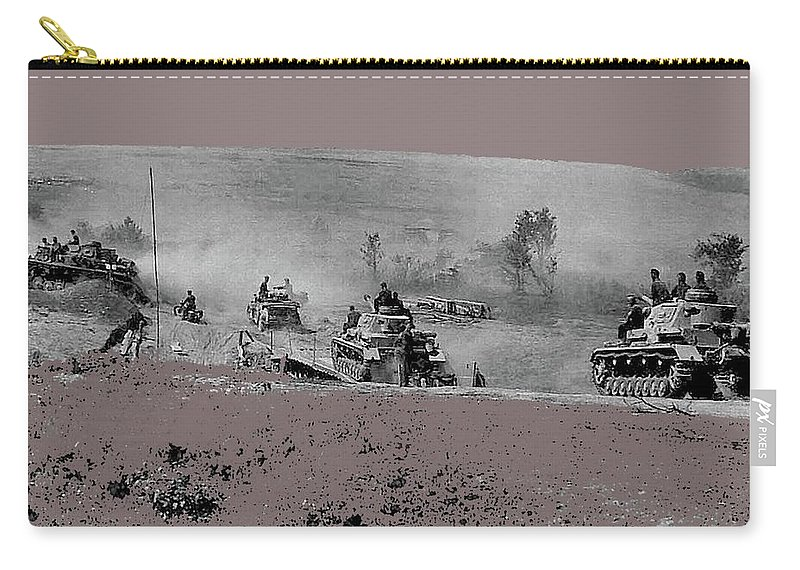 12th Panzer Division On The Move To Stalingrad August 1942 Color Added 2016 Carry-all Pouch featuring the photograph 12th Panzer Division On The Move To Stalingrad August 1942 Color Added 2016 by David Lee Guss