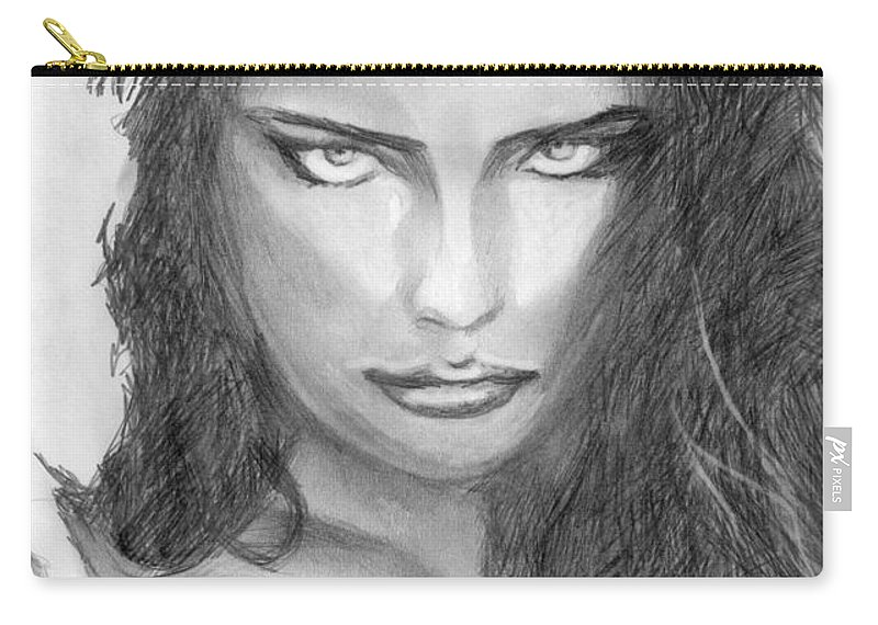 Adriana Lima Carry-all Pouch featuring the drawing 13 by Kristopher VonKaufman