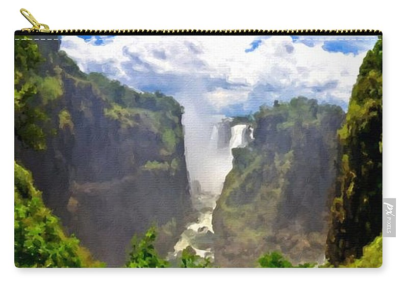 Nature Carry-all Pouch featuring the digital art Oil Paintings Landscapes by Usa Map