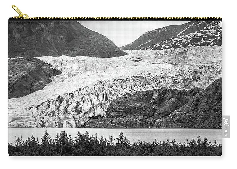 Panoramic Carry-all Pouch featuring the photograph Panoramic View Of Mendenhall Glacier Juneau Alaska by Alex Grichenko