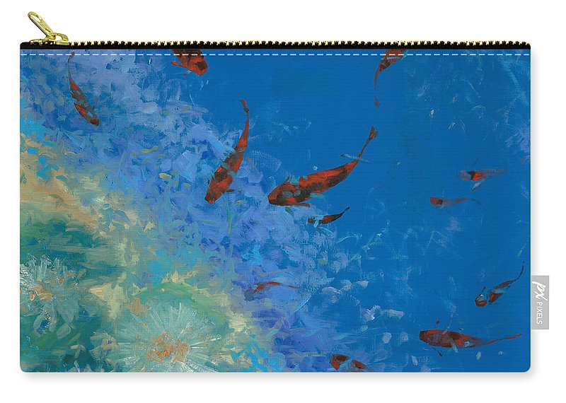 Fishscape Carry-all Pouch featuring the painting 13 Pesciolini Rossi by Guido Borelli
