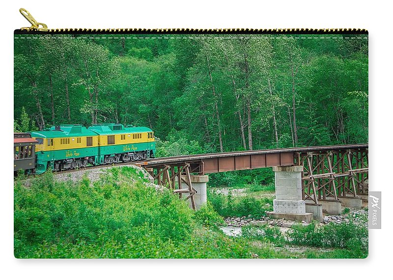 White Carry-all Pouch featuring the photograph Scenic Train From Skagway To White Pass Alaska by Alex Grichenko