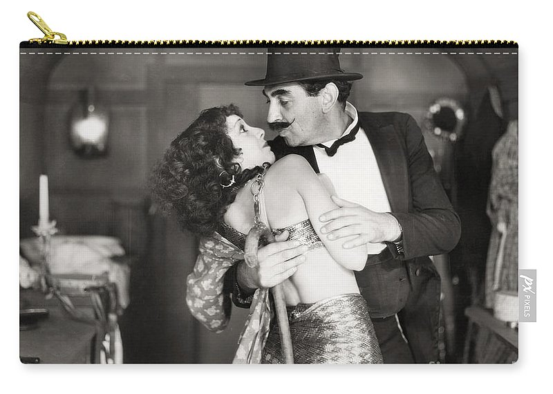 1920s Carry-all Pouch featuring the photograph Silent Still: Man & Woman by Granger