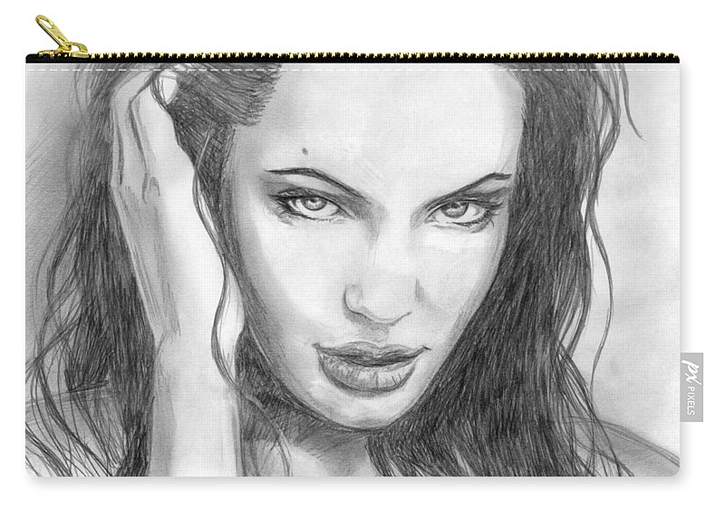 Angelina Jolie Carry-all Pouch featuring the drawing 14 by Kristopher VonKaufman