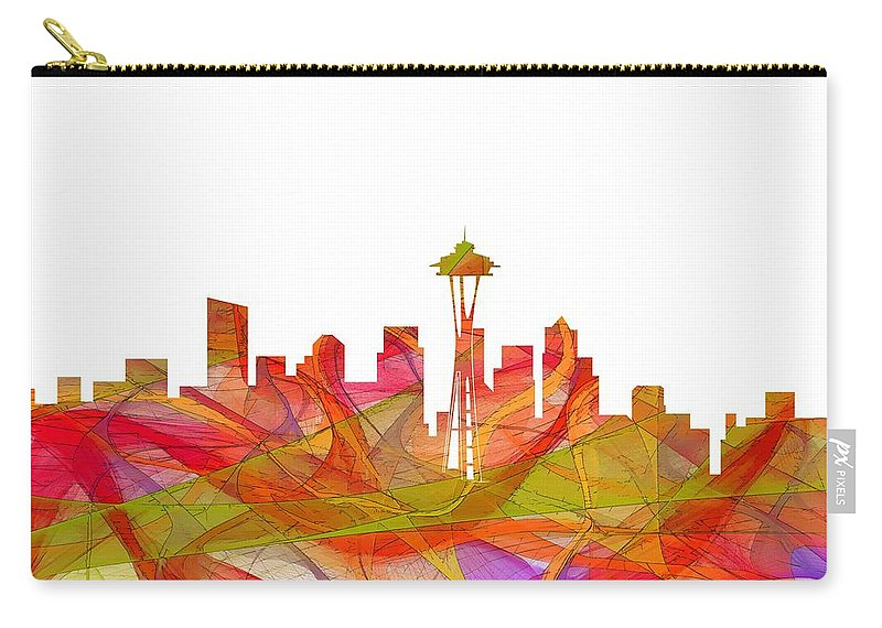 Seattle Washington Skyline Carry-all Pouch featuring the digital art Seattle Washington Skyline by Marlene Watson
