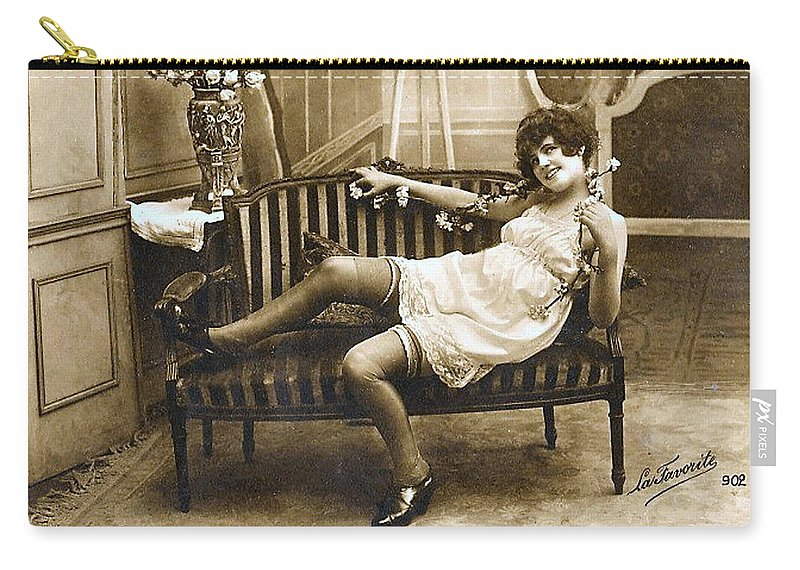 Vintage Postcard Image Carry-all Pouch featuring the digital art Vintage Nude Postcard Image by Unknown