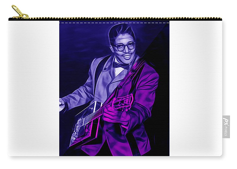 Bo Diddley Carry-all Pouch featuring the mixed media Bo Diddley Collection by Marvin Blaine