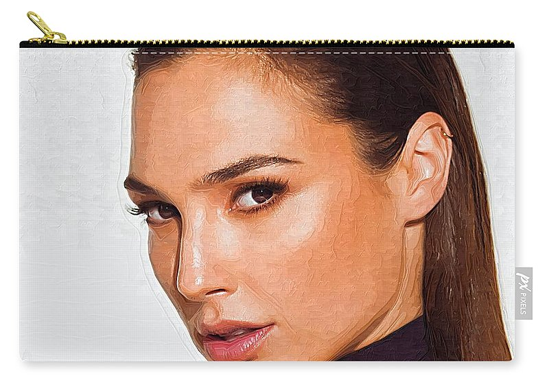 Gal Gadot Carry-all Pouch featuring the digital art Gal Gadot Art by Lilia Kosvintseva