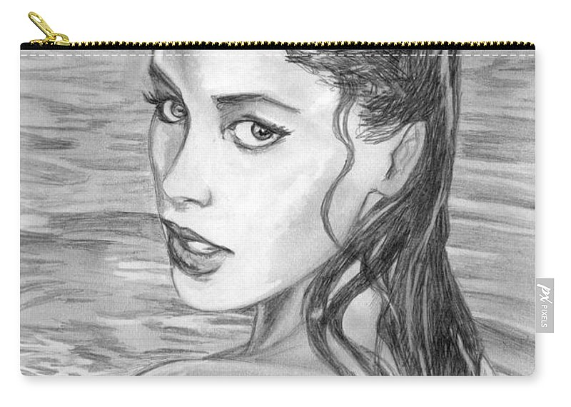 Soleil Moon Frye Carry-all Pouch featuring the drawing 15 by Kristopher VonKaufman