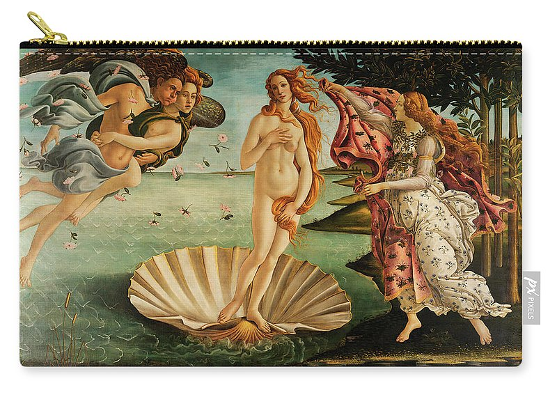 Birth Of Venus Carry-all Pouch featuring the painting The Birth Of Venus by Sandro Botticelli