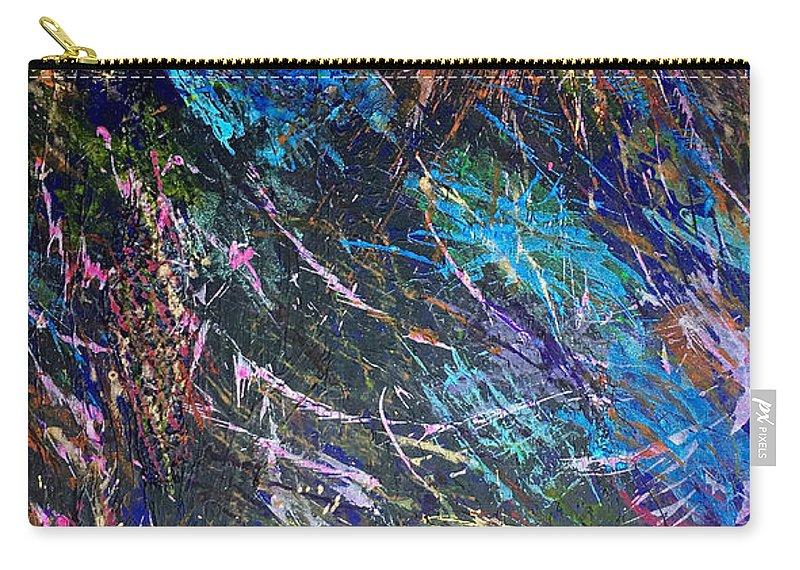 Acrylic Carry-all Pouch featuring the painting 16-4 Space Explosion Canvas by Patrick OLeary